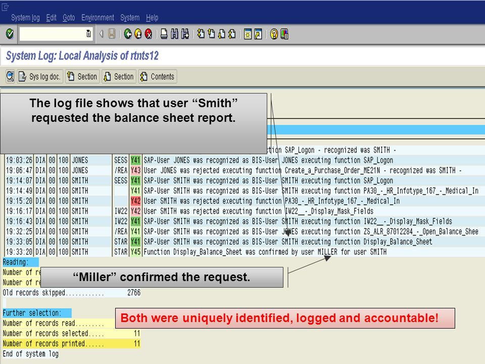 The log file shows that user Smith requested the balance sheet report.