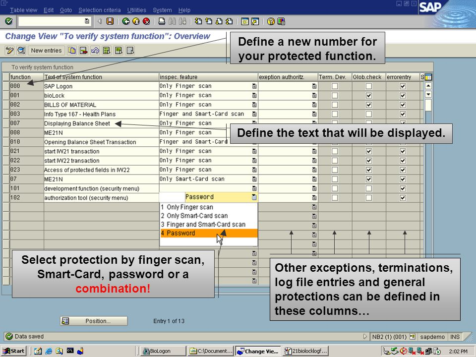 Define a new number for your protected function. Define the text that will be displayed.