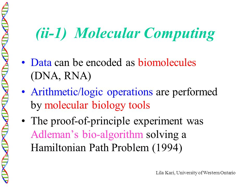 Lila Kari, University of Western Ontario (ii-1) Molecular Computing Data can be encoded as biomolecules (DNA, RNA) Arithmetic/logic operations are per