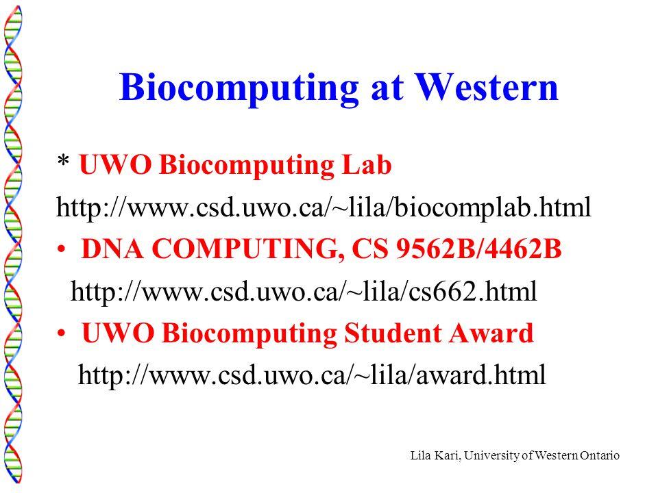 Lila Kari, University of Western Ontario Biocomputing at Western * UWO Biocomputing Lab http://www.csd.uwo.ca/~lila/biocomplab.html DNA COMPUTING, CS 9562B/4462B http://www.csd.uwo.ca/~lila/cs662.html UWO Biocomputing Student Award http://www.csd.uwo.ca/~lila/award.html