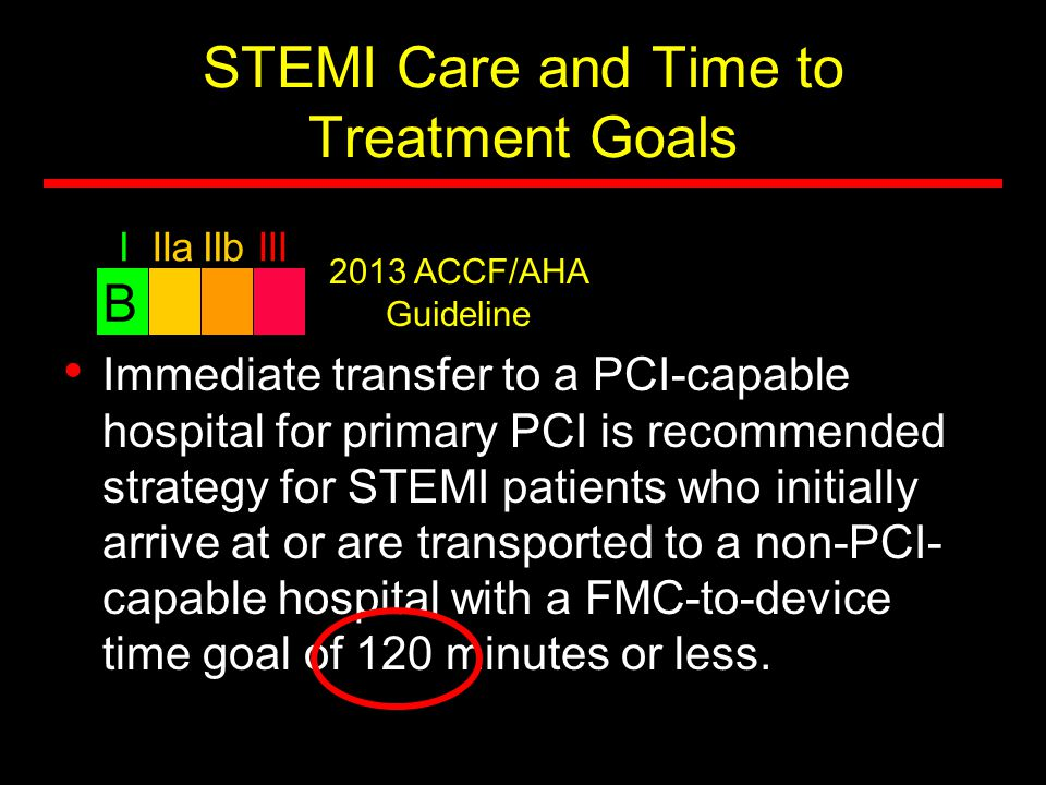 STEMI Care and Time to Treatment Goals Immediate transfer to a PCI-capable hospital for primary PCI is recommended strategy for STEMI patients who ini