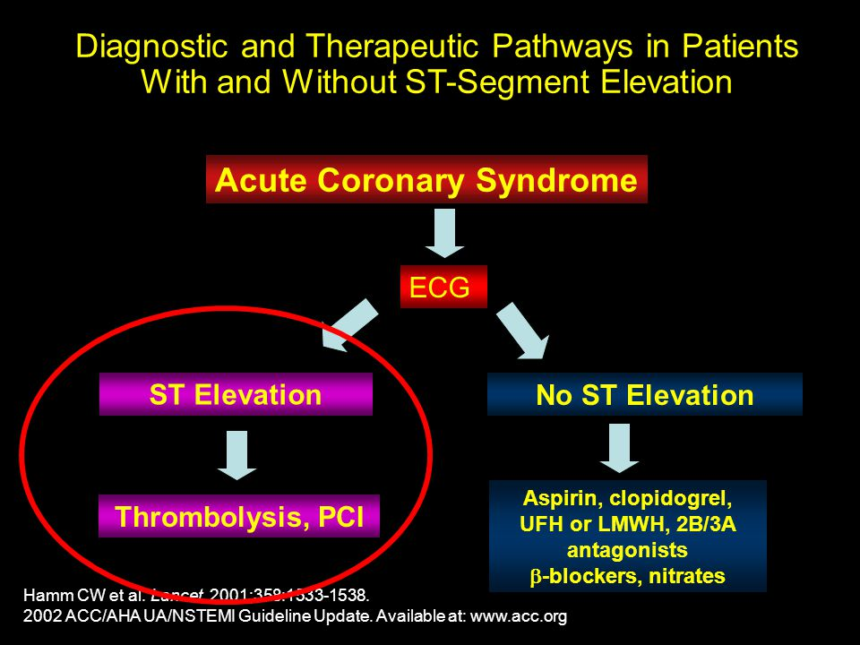 Diagnostic and Therapeutic Pathways in Patients With and Without ST-Segment Elevation Hamm CW et al. Lancet. 2001;358:1533-1538. 2002 ACC/AHA UA/NSTEM