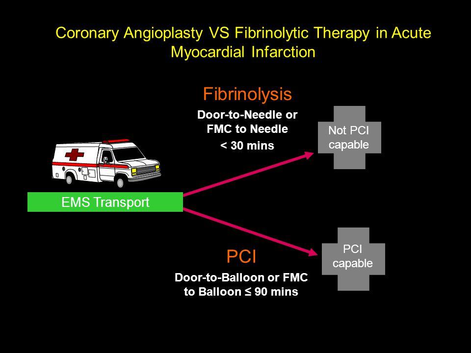 PCI capable Fibrinolysis Door-to-Needle or FMC to Needle < 30 mins Coronary Angioplasty VS Fibrinolytic Therapy in Acute Myocardial Infarction EMS Tra