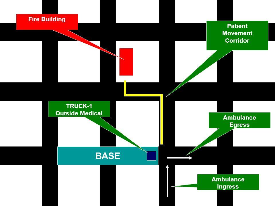 BASE Ambulance Ingress Ambulance Egress Patient Movement Corridor TRUCK-1 Outside Medical Fire Building