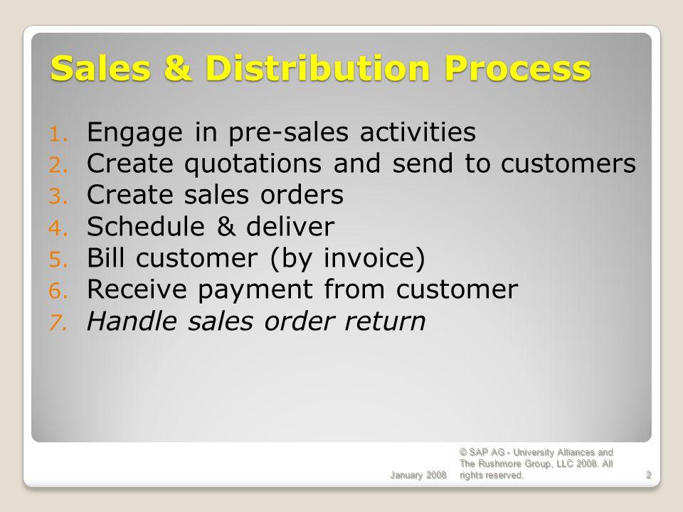 Sales & Distribution Process SAP Implementation EGN 5620 Enterprise Systems Configuration Sales & Distribution Process SAP Implementation EGN 5620 Enterprise Systems Configuration