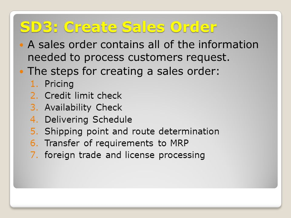 SD3-1: Pricing SAP can display pricing information at both the header and the line item level for sales order.