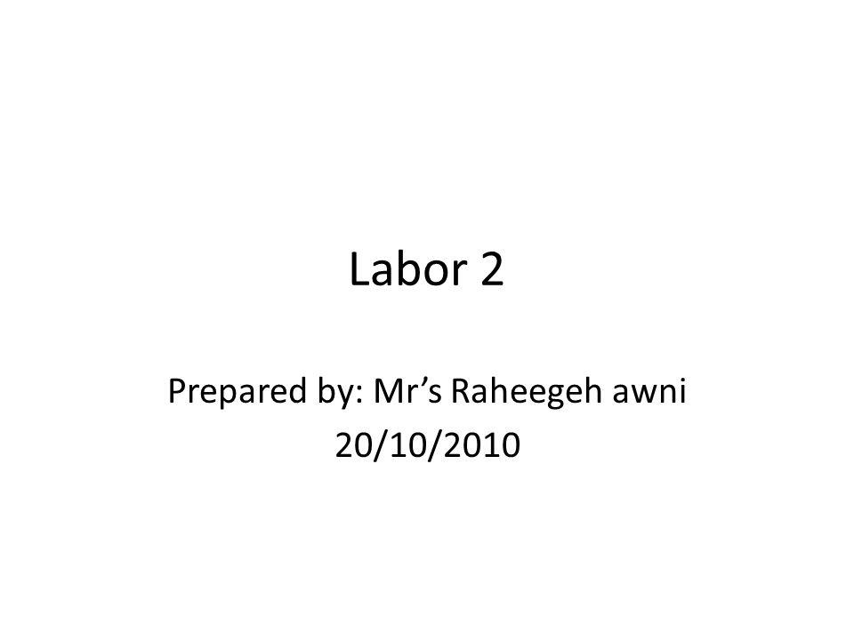 Labor 2 Prepared by: Mr's Raheegeh awni 20/10/2010