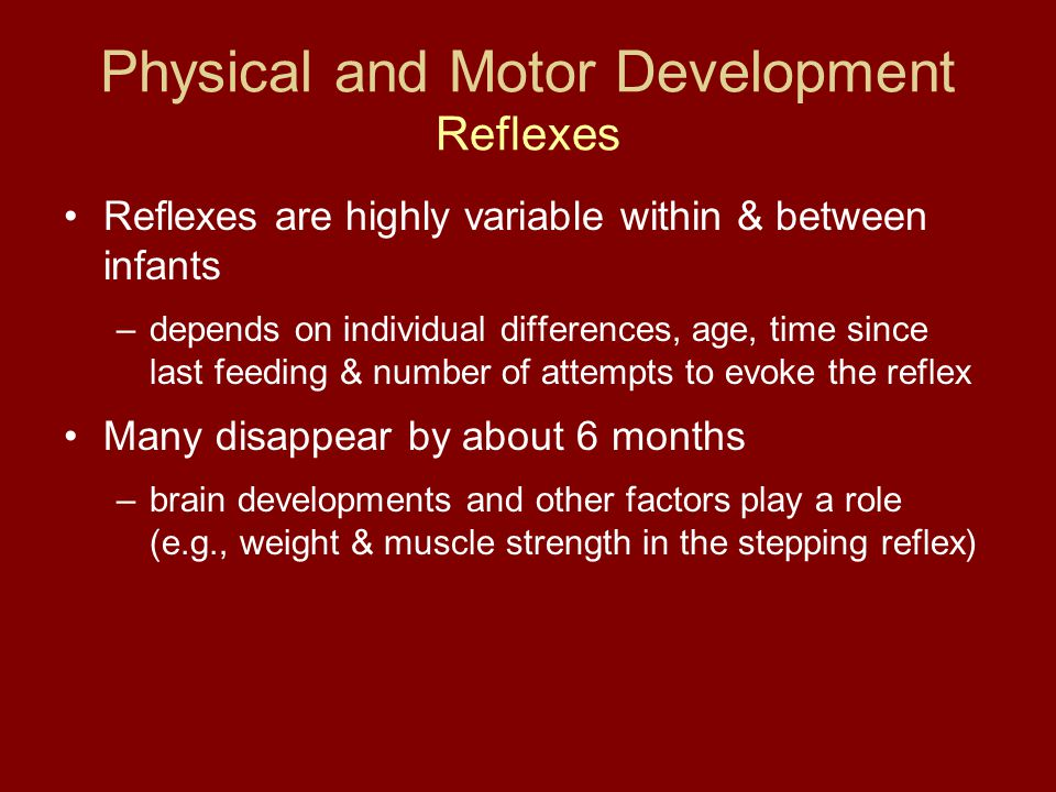 Physical and Motor Development Reflexes Reflexes are highly variable within & between infants –depends on individual differences, age, time since last