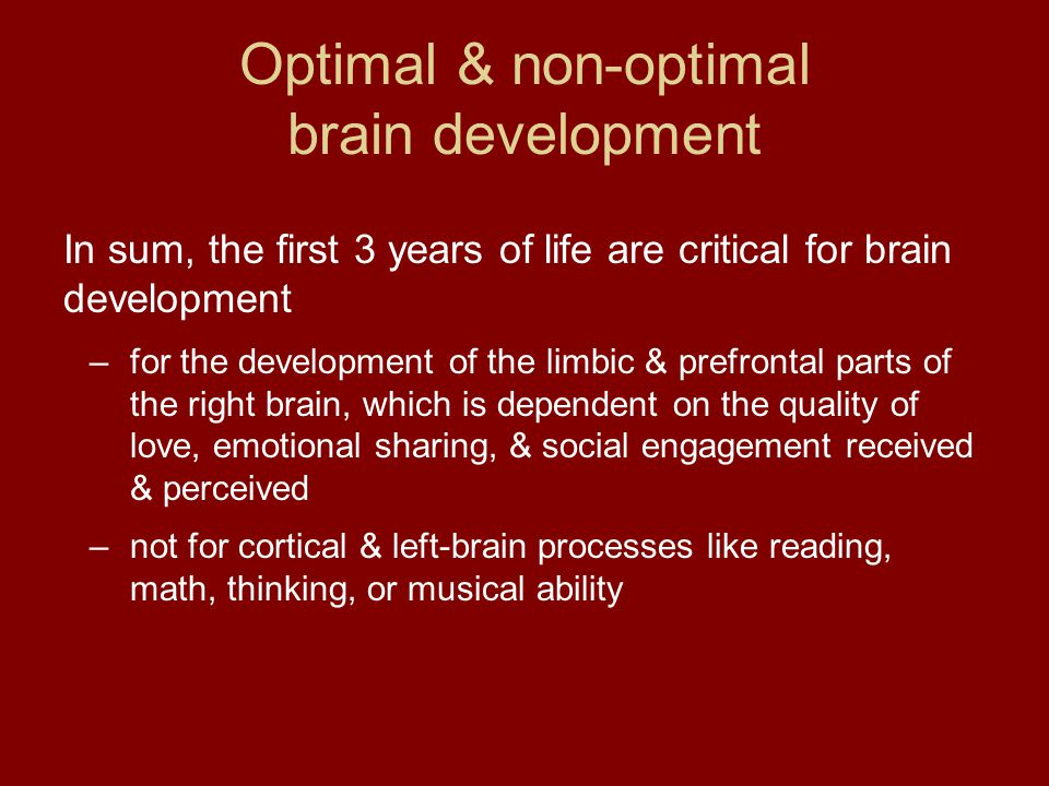 In sum, the first 3 years of life are critical for brain development –for the development of the limbic & prefrontal parts of the right brain, which i