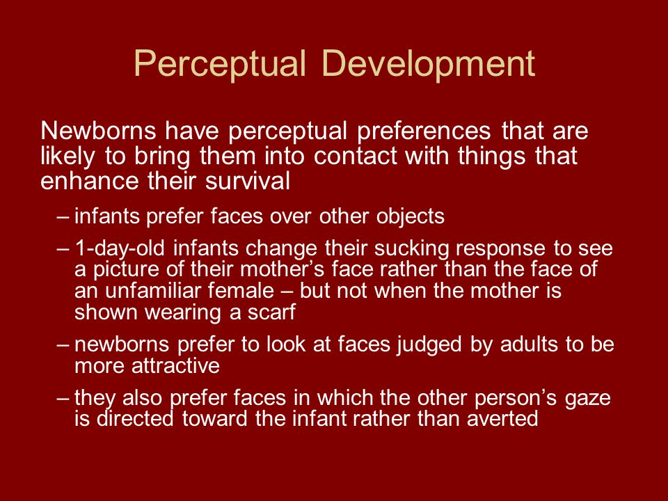 Perceptual Development Newborns have perceptual preferences that are likely to bring them into contact with things that enhance their survival –infant
