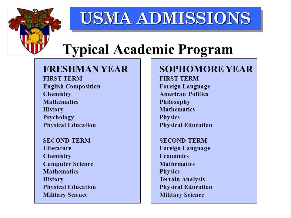 USMA ADMISSIONS FRESHMAN YEARSOPHOMORE YEARFIRST TERM English Composition Foreign Language ChemistryAmerican Politics MathematicsPhilosophy HistoryMat