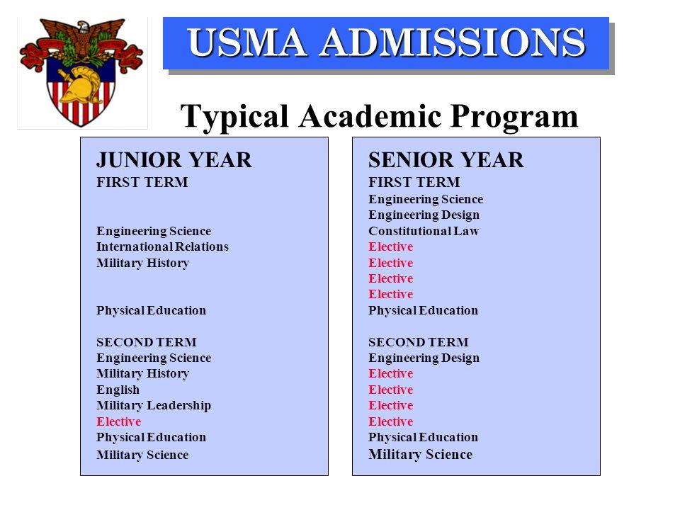 USMA ADMISSIONS JUNIOR YEARSENIOR YEAR FIRST TERM FIRST TERM Engineering Science Engineering Design Engineering ScienceConstitutional Law Internationa