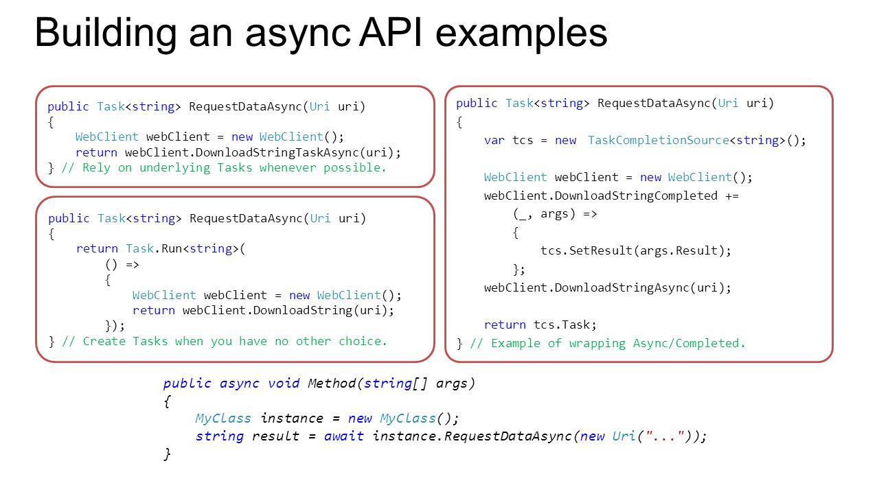 Building an async API examples public Task RequestDataAsync(Uri uri) { return Task.Run ( () => { WebClient webClient = new WebClient(); return webClient.DownloadString(uri); }); } // Create Tasks when you have no other choice.