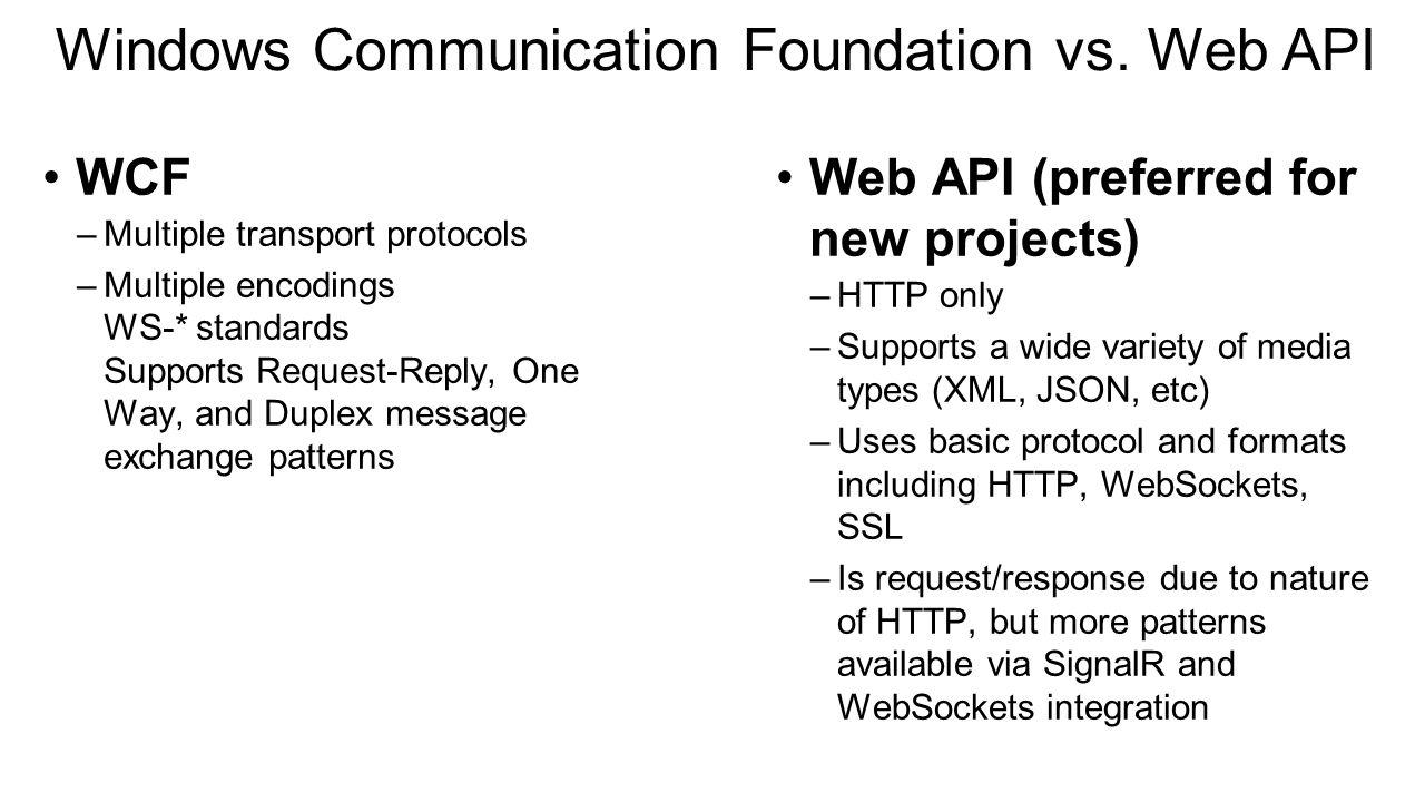 Windows Communication Foundation vs.