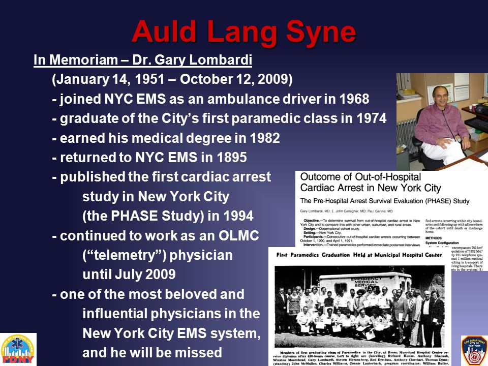Auld Lang Syne In Memoriam – Dr.