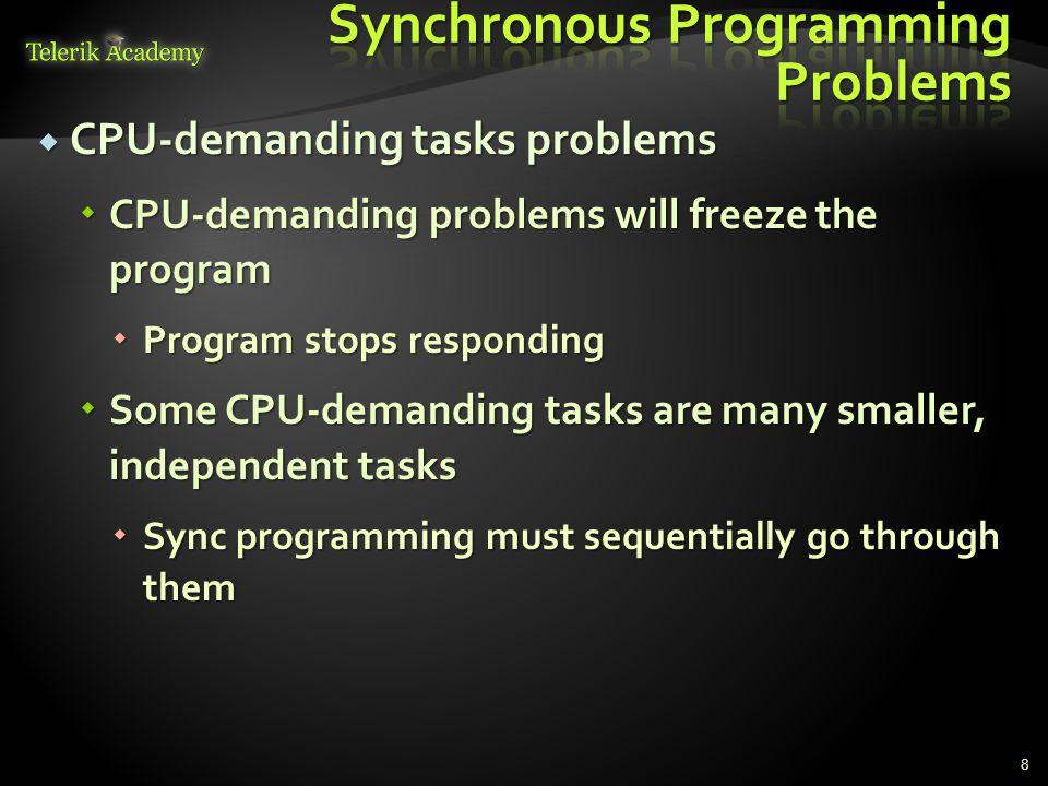  CPU-demanding tasks problems  CPU-demanding problems will freeze the program  Program stops responding  Some CPU-demanding tasks are many smaller