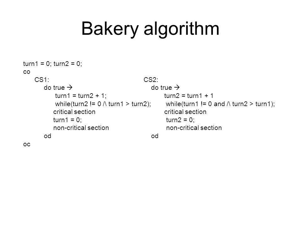 Bakery algorithm turn1 = 0; turn2 = 0; co CS1: CS2: do true  do true  turn1 = turn2 + 1; turn2 = turn1 + 1 while(turn2 != 0 /\ turn1 > turn2); while(turn1 != 0 and /\ turn2 > turn1); critical section turn1 = 0; turn2 = 0; non-critical section od od oc