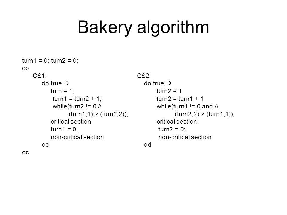 Bakery algorithm turn1 = 0; turn2 = 0; co CS1: CS2: do true  do true  turn = 1; turn2 = 1 turn1 = turn2 + 1; turn2 = turn1 + 1 while(turn2 != 0 /\ while(turn1 != 0 and /\ (turn1,1) > (turn2,2)); (turn2,2) > (turn1,1)); critical section turn1 = 0; turn2 = 0; non-critical section od od oc