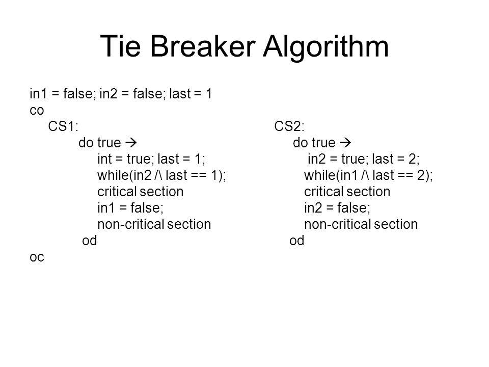 Tie Breaker Algorithm in1 = false; in2 = false; last = 1 co CS1: CS2: do true  int = true; last = 1; in2 = true; last = 2; while(in2 /\ last == 1); while(in1 /\ last == 2); critical section critical section in1 = false; in2 = false; non-critical section non-critical section od od oc
