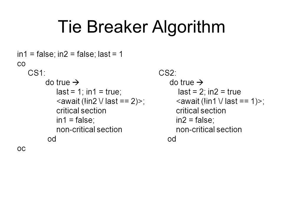 Tie Breaker Algorithm in1 = false; in2 = false; last = 1 co CS1: CS2: do true  last = 1; in1 = true; last = 2; in2 = true ; ; critical section critical section in1 = false; in2 = false; non-critical section non-critical section od od oc