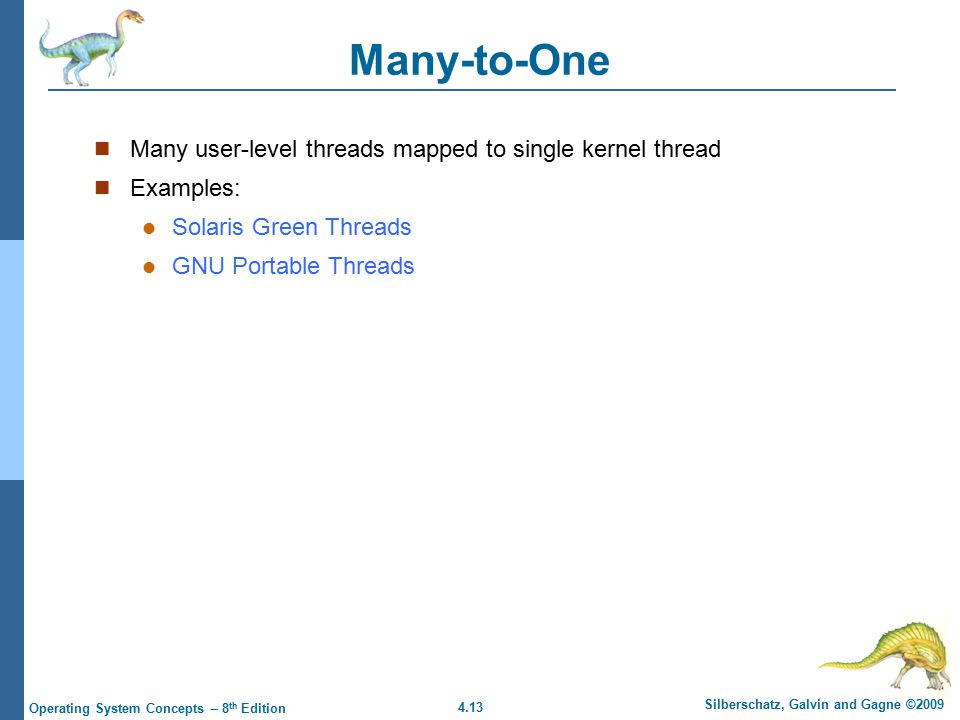 4.13 Silberschatz, Galvin and Gagne ©2009 Operating System Concepts – 8 th Edition Many-to-One Many user-level threads mapped to single kernel thread