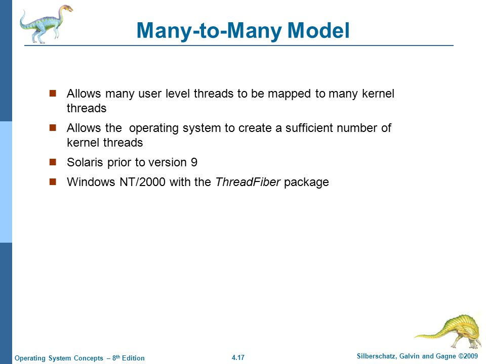 4.17 Silberschatz, Galvin and Gagne ©2009 Operating System Concepts – 8 th Edition Many-to-Many Model Allows many user level threads to be mapped to m