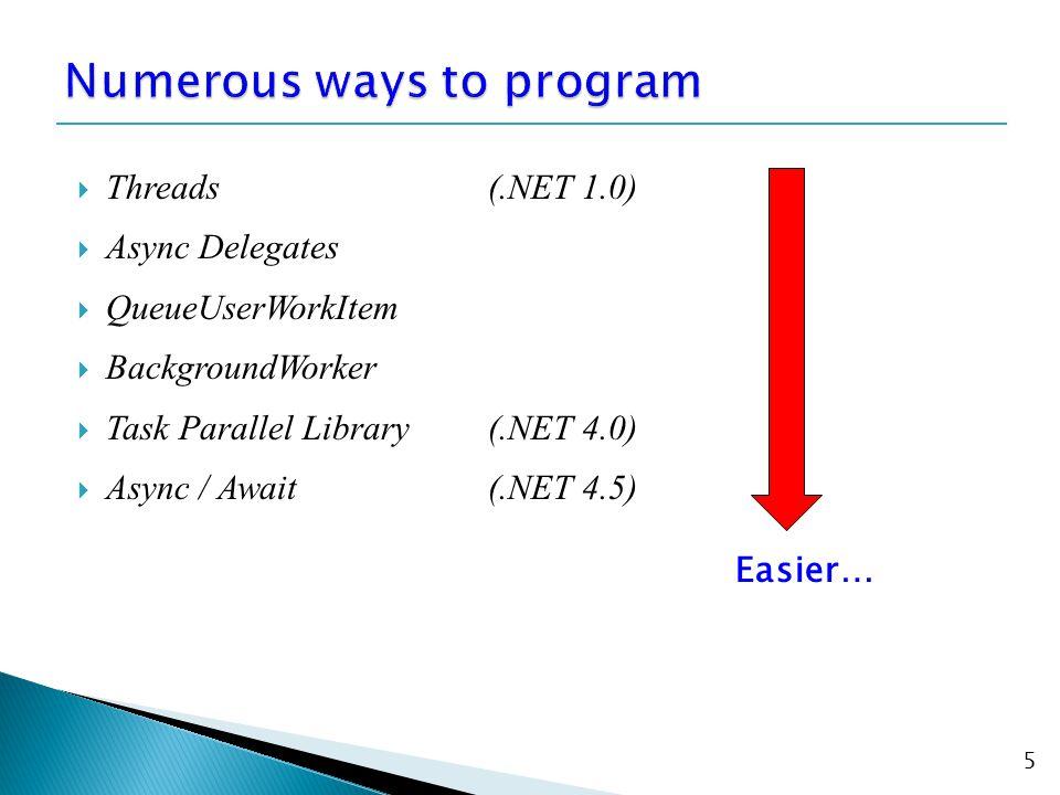  Threads(.NET 1.0)  Async Delegates  QueueUserWorkItem  BackgroundWorker  Task Parallel Library(.NET 4.0)  Async / Await(.NET 4.5) 5 Easier…