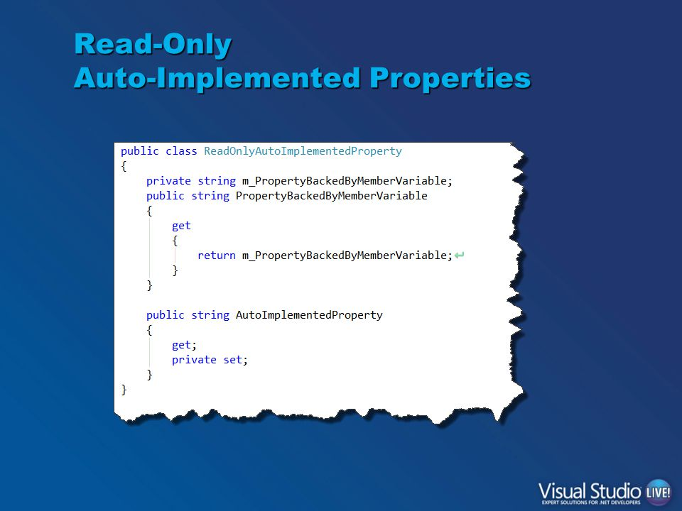 Read-Only Auto-Implemented Properties