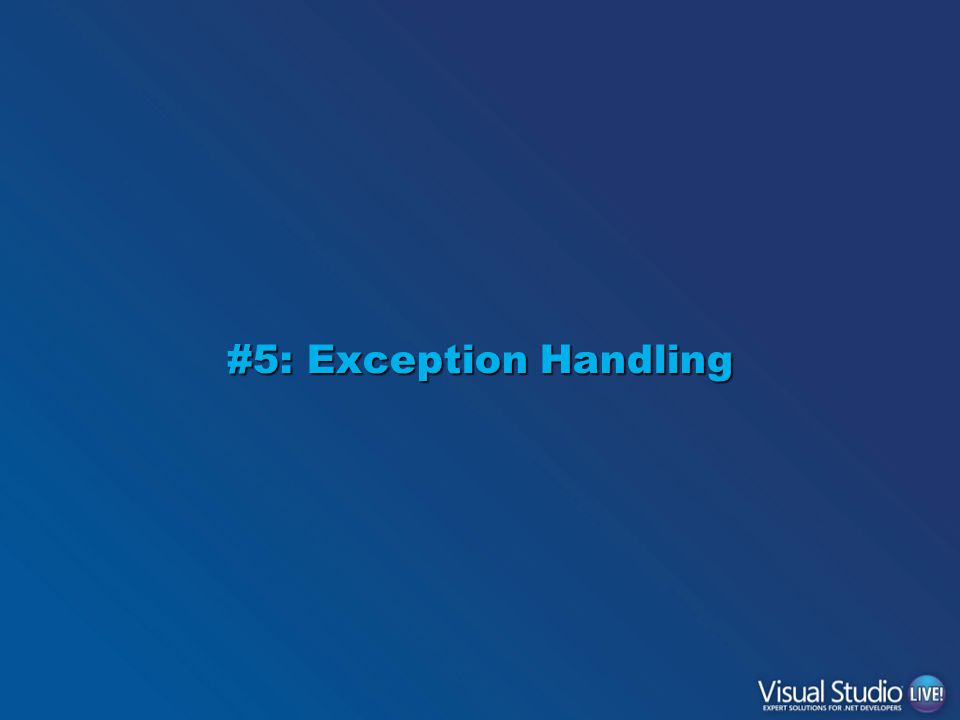 #5: Exception Handling