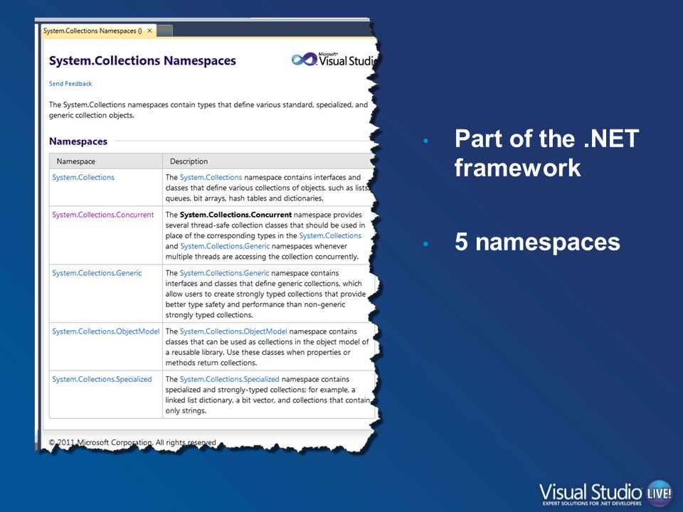Part of the.NET framework 5 namespaces