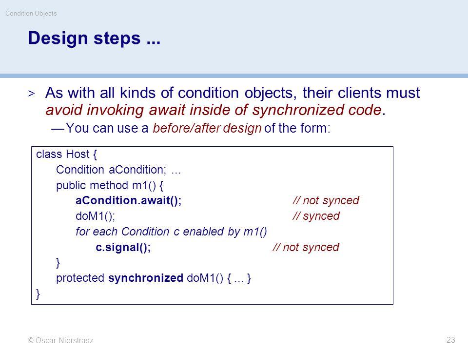 © Oscar Nierstrasz Condition Objects 23 Design steps...