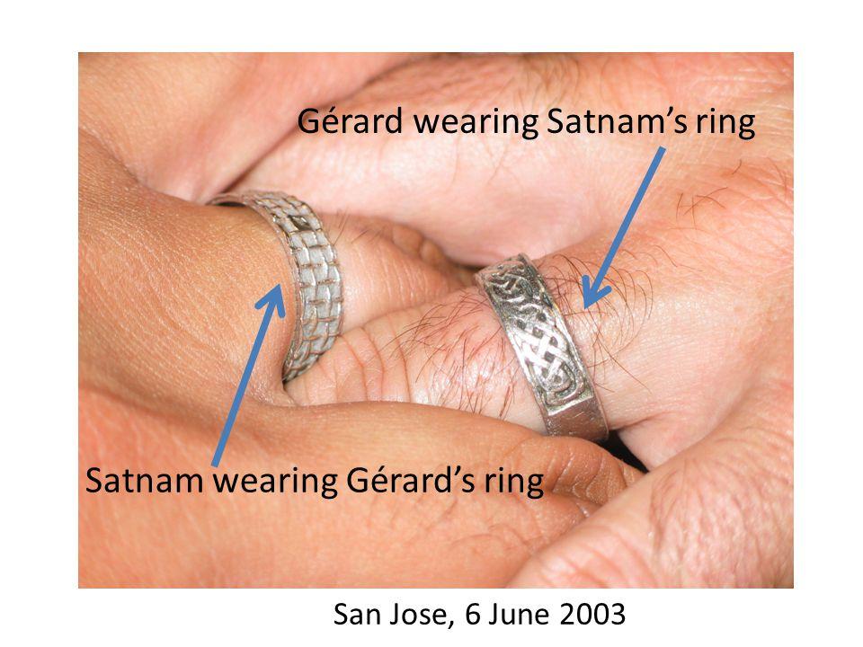 Gérard wearing Satnam's ring Satnam wearing Gérard's ring San Jose, 6 June 2003