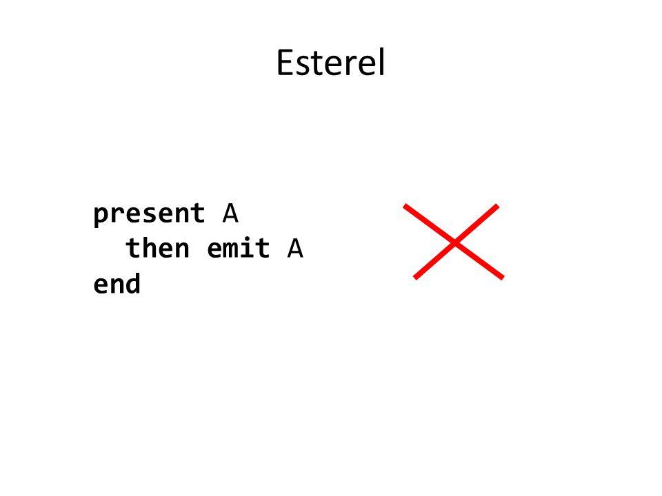 Esterel present A then emit A end