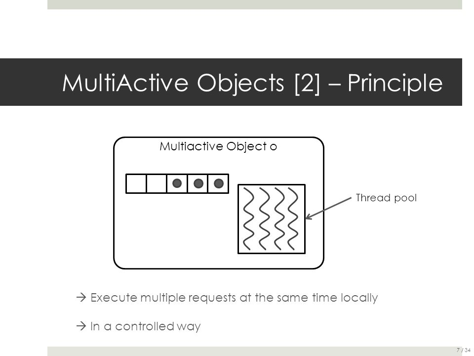 MultiActive Objects [2] – Principle Multiactive Object o Thread pool  Execute multiple requests at the same time locally  In a controlled way 7 / 34