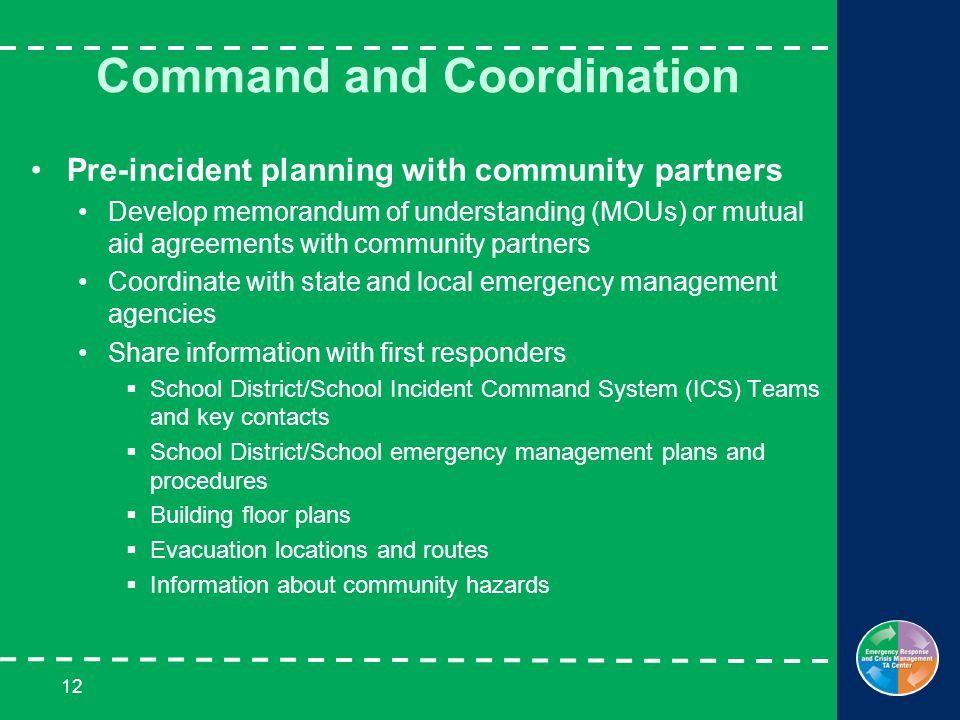 12 Command and Coordination Pre-incident planning with community partners Develop memorandum of understanding (MOUs) or mutual aid agreements with community partners Coordinate with state and local emergency management agencies Share information with first responders  School District/School Incident Command System (ICS) Teams and key contacts  School District/School emergency management plans and procedures  Building floor plans  Evacuation locations and routes  Information about community hazards
