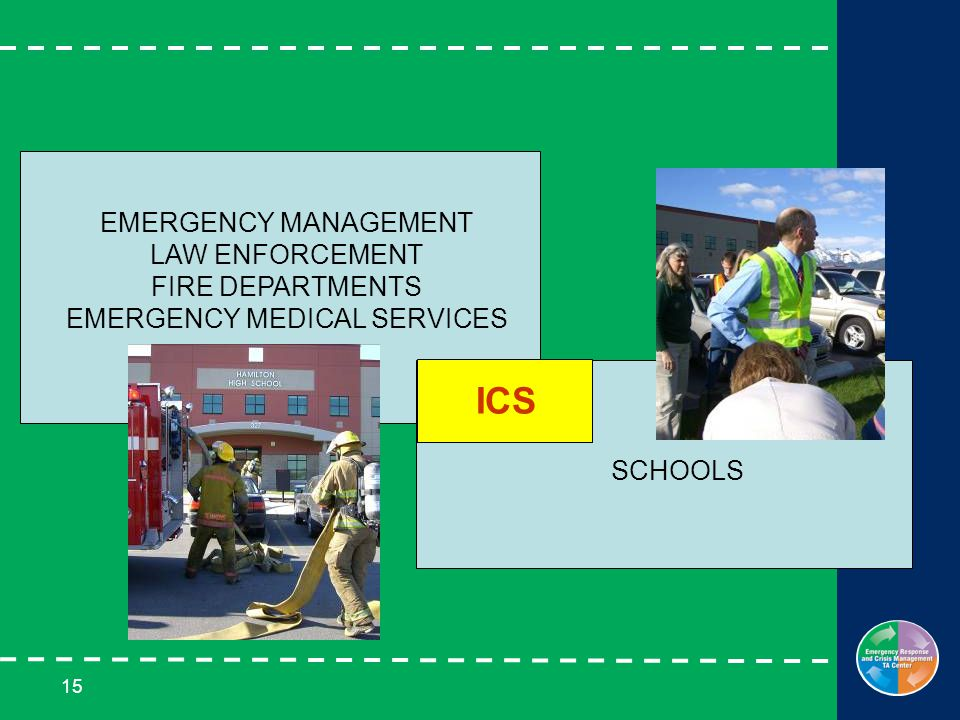 15 EMERGENCY MANAGEMENT LAW ENFORCEMENT FIRE DEPARTMENTS EMERGENCY MEDICAL SERVICES SCHOOLS ICS