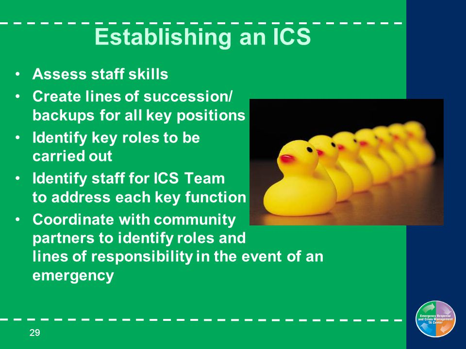 29 Establishing an ICS Assess staff skills Create lines of succession/ backups for all key positions Identify key roles to be carried out Identify staff for ICS Team to address each key function Coordinate with community partners to identify roles and lines of responsibility in the event of an emergency