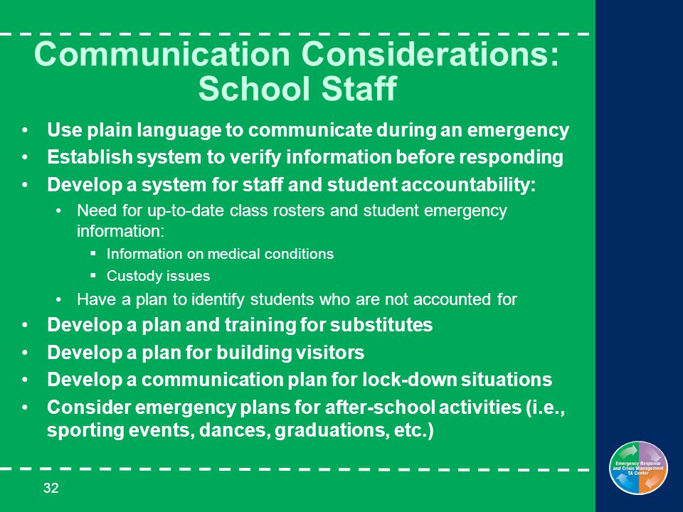 32 Communication Considerations: School Staff Use plain language to communicate during an emergency Establish system to verify information before responding Develop a system for staff and student accountability: Need for up-to-date class rosters and student emergency information:  Information on medical conditions  Custody issues Have a plan to identify students who are not accounted for Develop a plan and training for substitutes Develop a plan for building visitors Develop a communication plan for lock-down situations Consider emergency plans for after-school activities (i.e., sporting events, dances, graduations, etc.)