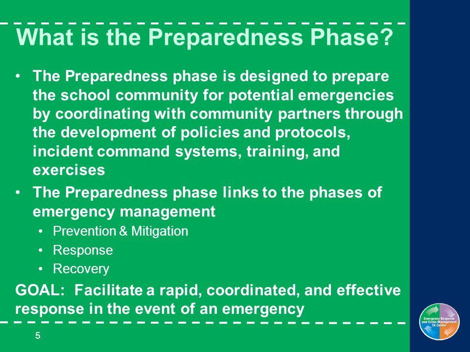 5 What is the Preparedness Phase.