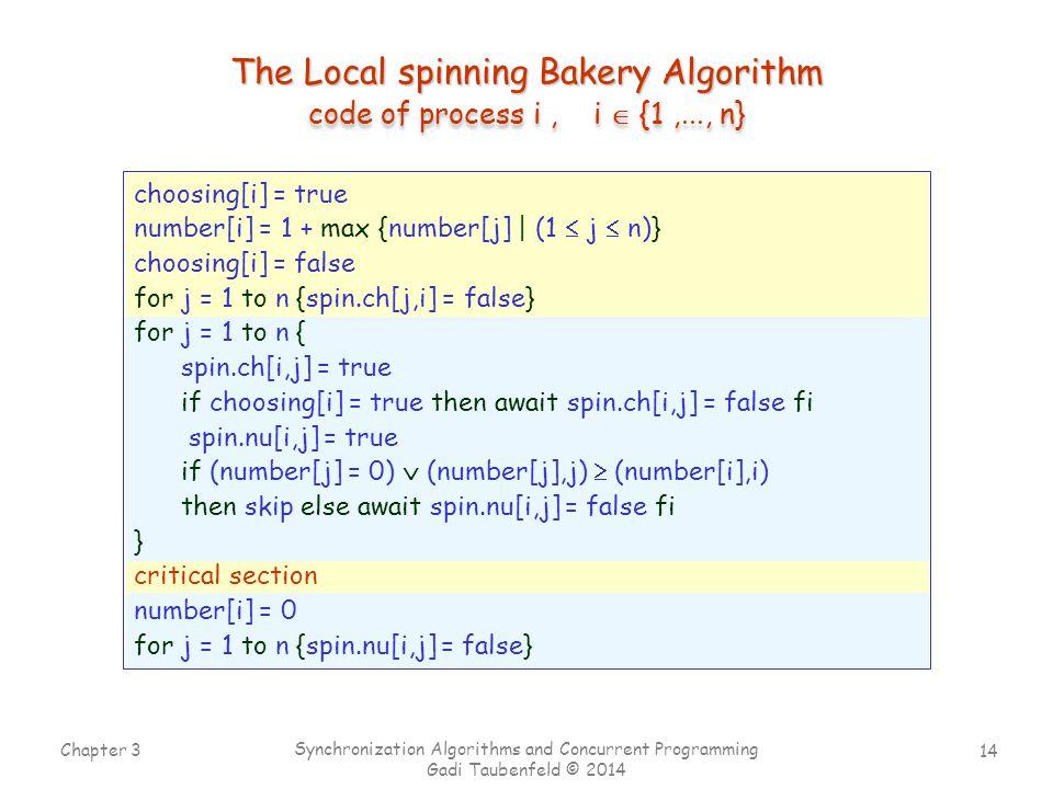 14 Chapter 3 Synchronization Algorithms and Concurrent Programming Gadi Taubenfeld © 2014 code of process i, i  {1,..., n} choosing[i] = true number[i] = 1 + max {number[j] | (1  j  n)} choosing[i] = false for j = 1 to n {spin.ch[j,i] = false} for j = 1 to n { spin.ch[i,j] = true if choosing[i] = true then await spin.ch[i,j] = false fi spin.nu[i,j] = true if (number[j] = 0)  (number[j],j)  (number[i],i) then skip else await spin.nu[i,j] = false fi } critical section number[i] = 0 for j = 1 to n {spin.nu[i,j] = false} The Local spinning Bakery Algorithm