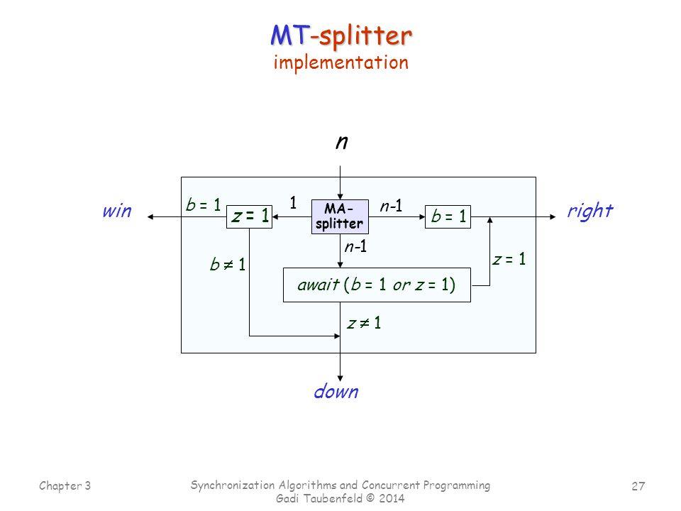 27 Chapter 3 Synchronization Algorithms and Concurrent Programming Gadi Taubenfeld © 2014 await (b = 1 or z = 1) z = 1 MA- splitter rightwin down n 1 n-1 b = 1 z = 1 z  1 b  1 b = 1 MT-splitter implementation