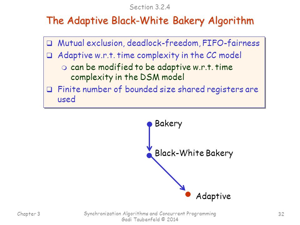 32 Chapter 3 Synchronization Algorithms and Concurrent Programming Gadi Taubenfeld © 2014 Bakery Black-White Bakery The Adaptive Black-White Bakery Algorithm Adaptive Section 3.2.4  Mutual exclusion, deadlock-freedom, FIFO-fairness  Adaptive w.r.t.