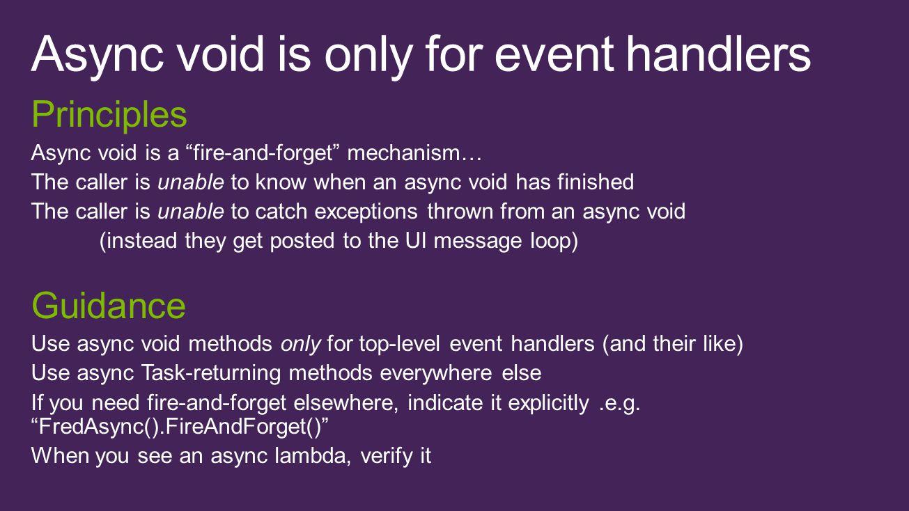 async Task LoadAsync() { await IO.Network.DownloadAsync(path); } void Button1_Click(){ var t = LoadAsync(); t.Wait(); UpdateView(); } Click Message pump Task...