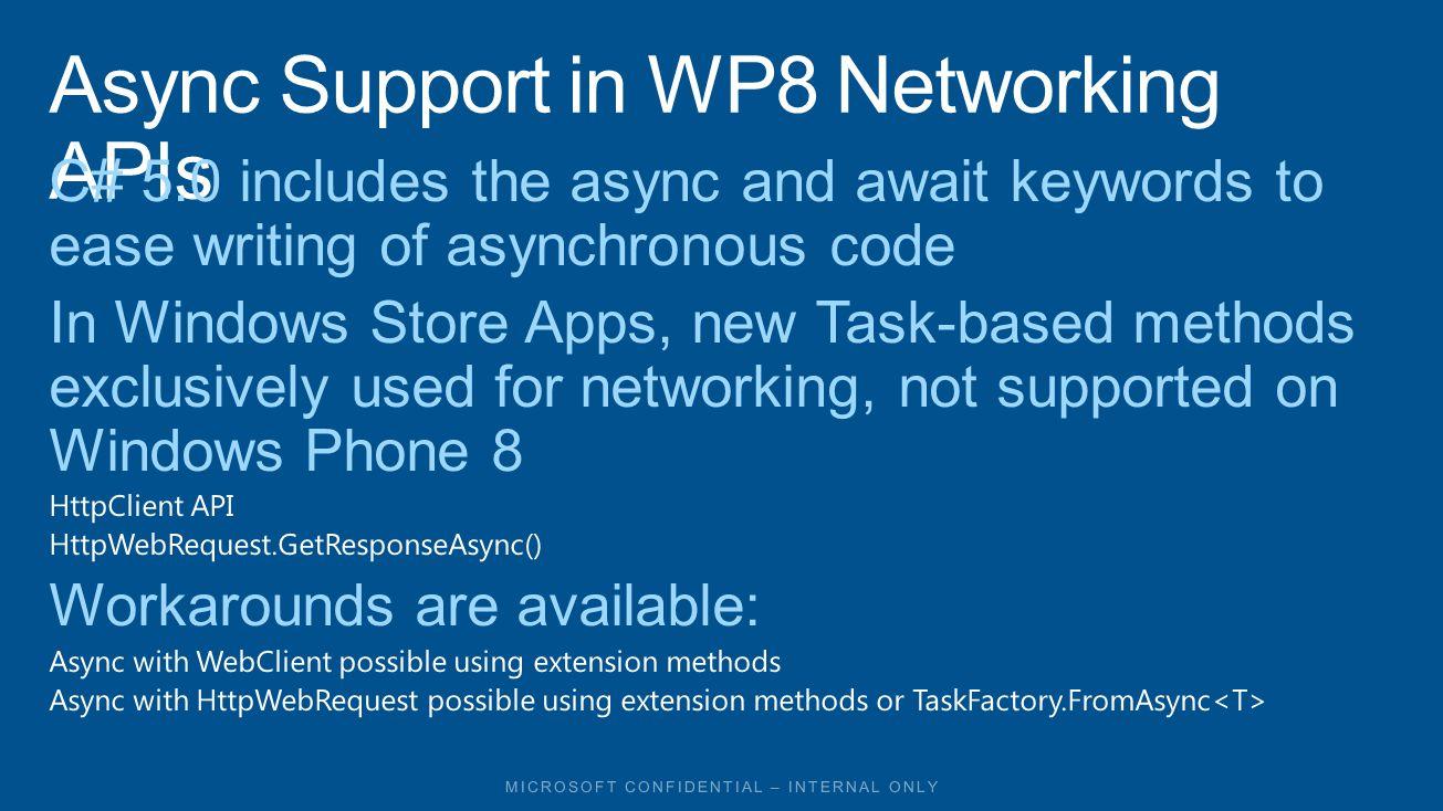 APIWP7.1WP8W8 System.Net.WebClient  System.Net.HttpWebRequest System.Net.Http.HttpClient  ( NuGet) Windows.Web.Syndication.SyndicationClient  Windows.Web.AtomPub.AtomPubClient  ASMX Web Services WCF Services OData Services