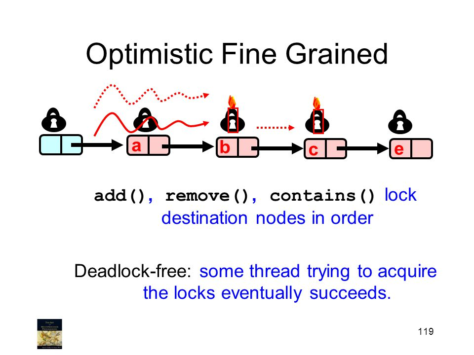 119 Optimistic Fine Grained b c e a add(), remove(), contains() lock destination nodes in order Deadlock-free: some thread trying to acquire the locks