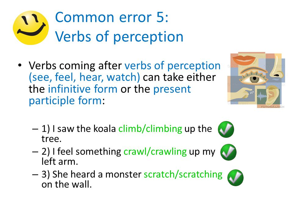 Common error 5: Verbs of perception Verbs coming after verbs of perception (see, feel, hear, watch) can take either the infinitive form or the present participle form: – 1) I saw the koala climb/climbing up the tree.