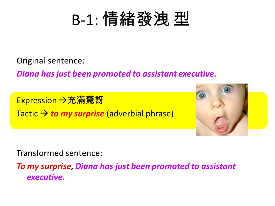 B-1: 情緒發洩 型 Original sentence: Diana has just been promoted to assistant executive.