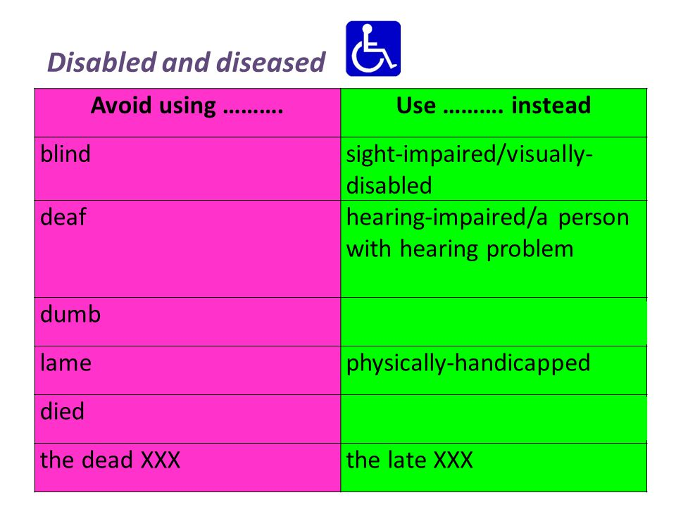 Disabled and diseased Avoid using ……….Use ……….