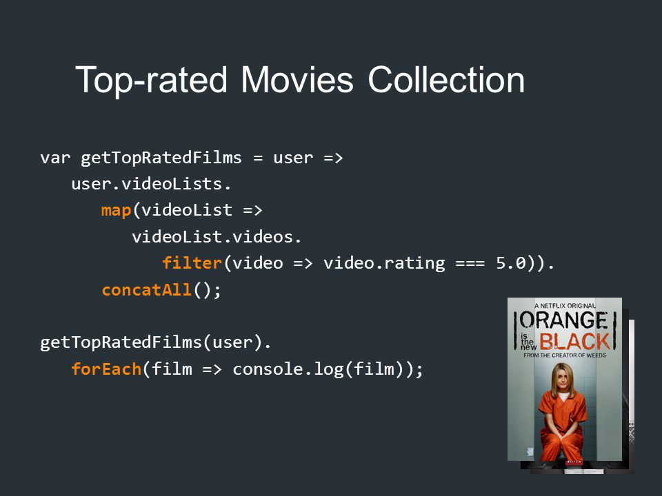 Top-rated Movies Collection var getTopRatedFilms = user => user.videoLists. map(videoList => videoList.videos. filter(video => video.rating === 5.0)).