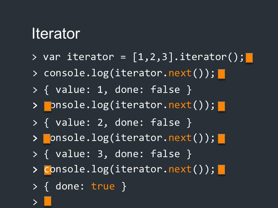 Iterator > var iterator = [1,2,3].iterator(); > { value: 1, done: false } > > console.log(iterator.next()); > { value: 2, done: false } > > console.lo
